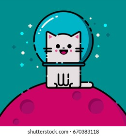 Happy vector emoticon cat in the space. Colorful flat line emoji picture