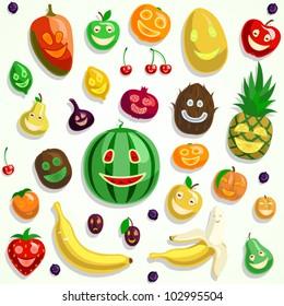 Happy vector fruit faces