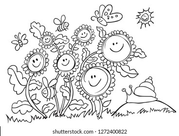 Happy Vector Sunflowers, Bees and Snail, Black and White