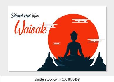 Happy Vesak Budha Purnima Day Background With Budha Statue Silhouette Vector Illustration