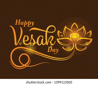 happy vesak day banner with abstract gold lotus flower sign and typography text on brown texture background vector design