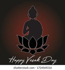Happy Vesak Day banner with Buddha Vector Illustration
