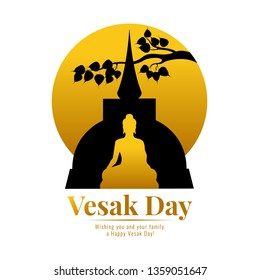 Happy vesak day banner with gold Buddha temple , bodhi leaf branch and circle full moon vector design