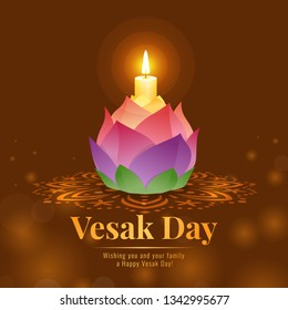 Happy vesak day banner with lotus lamp light for worshiping the Buddha vector design