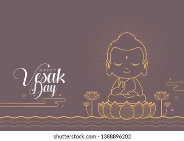Happy vesak day or buddha purnima. Cute cartoon Lord Buddha meditating on lotus in line art style.