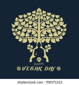 Happy Vesak day  with Buddha under Bodhi Tree and lotus sign art vector design