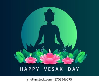 Happy Vesak Day Budha Purnima Background With Budha Statue Silhouette Vector Illusration, Realistic Pink Lotus Design 3D, Budha's Anniversary