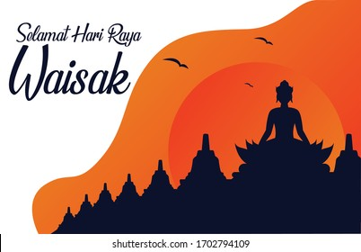 Happy Vesak Day Budha Purnima Background With Budha Statue Silhouet And Realistic Pink Lotus And Candle Vector Illustration, Vesak Day Greeting Card, Budhaism Celebration, Budha's anniversary,