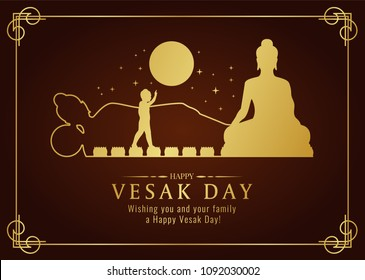 Happy vesak day card with Gold Buddha Nativity , Pour , nirvana sign and full moon time vector design