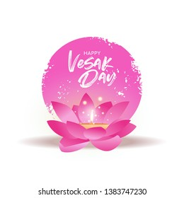 Happy Vesak Day greeting card for buddha birth holiday celebration. Pink lotus flower with candle inside.