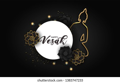 Happy Vesak Day greeting card illustration. Paper sign quote with gold buddha ornament and 3d flowers.