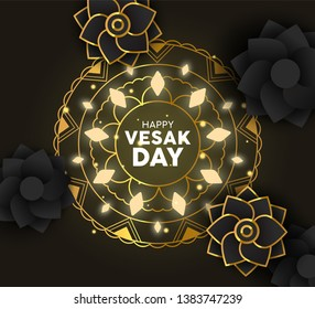 Happy Vesak Day greeting card illustration. Gold mandala decoration with lights and 3d paper flowers for hindu holiday.