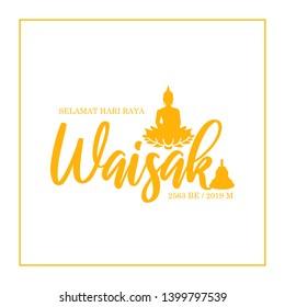 Happy Vesak day greeting card design template. Selamat Hari Raya Waisak greeting card banner.