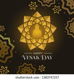 Happy Vesak Day illustration for hindu holiday celebration. Gold buddha lotus flower and floral decoration background.