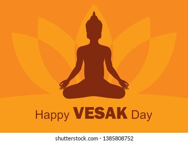 Happy Vesak Day vector. Silhouette of sitting Buddha vector illustration. May Buddhist holiday. Man in yoga position silhouette. Important day