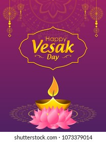 Happy Vesak Day wishes greetings with buddha and lotus illustration. Can be used for poster, banner, logo, background, greetings, print design, festive elements, symbols, icons and objects.
