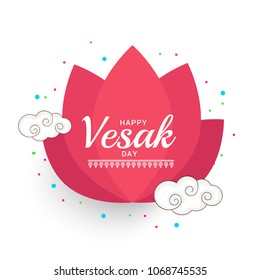 Happy Vesak Typography Greeting Card Background Design.
