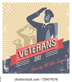 Happy Veterans Day! American traditional patriotic celebration. Military officer vector character.