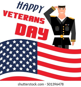 Happy veterans day card template. Cartoon style