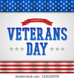 happy veterans day with creative text and flag