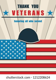 Happy Veterans Day. Greeting card with USA flag and soldier's helmet. American traditional patriotic celebration. Honoring all who served. November 11