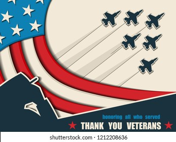 Happy Veterans Day. Greeting card with USA flag, soldier and aircraft on background. American traditional patriotic celebration. Honoring all who served. November 11