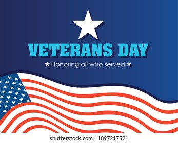 happy veterans day, greeting card american flag celebration vector illustration
