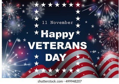 Happy Veterans day greeting card. Vector illustration.