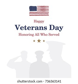 Happy Veterans Day. Greeting card with USA flag and soldier on background. National American holiday event. Flat vector illustration EPS10