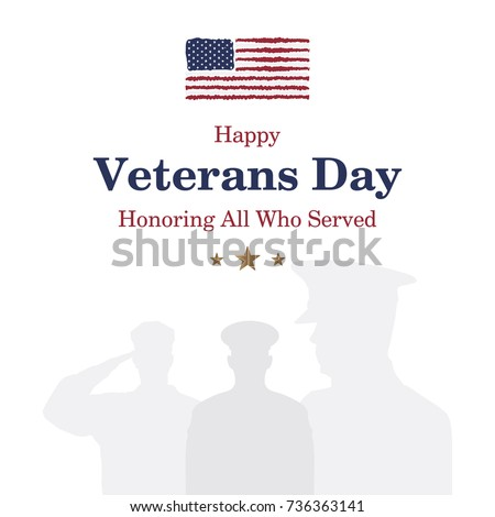 Happy veterans day greeting card usa stock vector royalty free happy veterans day greeting card with usa flag and soldier on background national american m4hsunfo