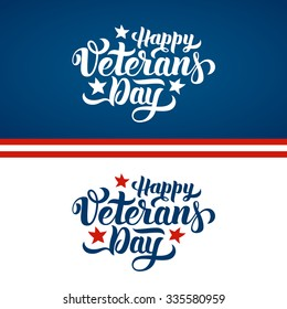 Happy Veterans Day hand lettering. Handmade calligraphy vector illustration
