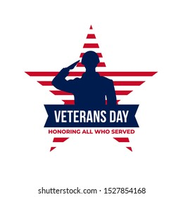 Happy veterans day honoring all who served retro vintage logo badge celebration poster background vector design. Soldier military salutation silhouette illustration with usa star america flag ornamen