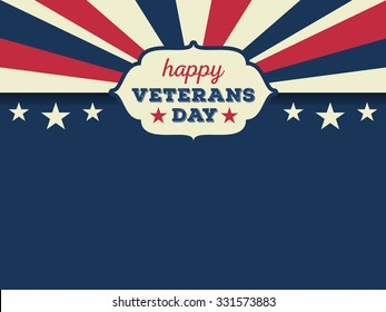Happy veterans day horizon background. Vector illustration aspect ratio 4/3