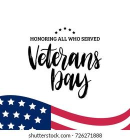Happy Veterans Day mit Flaggengrafik der USA. 11. November Feiertage Hintergrund. Feierlichkeiten mit Sternen und Streifen. Grußkarte in Vektorgrafik.
