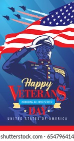 Happy Veterans Day. Poster. The soldier salutes in memory of victims