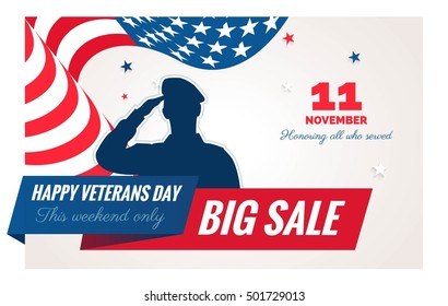 58e5344aefd Happy Veterans Day sale banner. Holiday background with waving flag