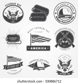 Happy veterans day set. Independence day. The celebration of patriotic celebration of America. Detailed elements. Typographic labels, stickers, logos and badges. Flat vector illustration