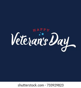 Happy Veteran's Day Text Over Blue Background, Vector Illustration