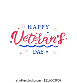 HAPPY VETERANS DAY-hand drawn lettering. Holliday calligraphy for banner, poster, greeting card, party invitation. Vector illustration EPS 10.
