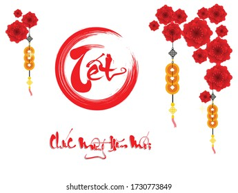 Happy vietnamese new year luna new year (Vietnamese characters mean Happy New Year)