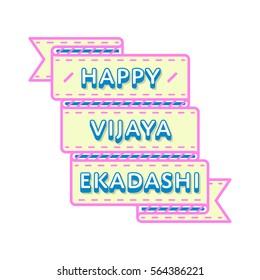 Happy Vijaya Ekadashi emblem isolated vector illustration on white background. 22 february indian religious holiday event label, greeting card decoration graphic element