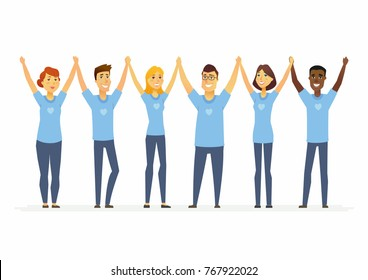 Happy volunteers holding hands - cartoon people characters isolated illustration