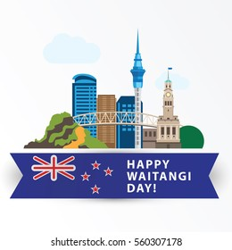 Happy Waitangi day,  6 February. New Zeland Auckland Greatest landmarks as symbol of the country. Web banner or greeting card