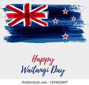 Happy Waitangi day - New Zealand holiday. Abstract painted grunge flag of New Zealand. Template for holiday background, poster, banner, greeting card, etc.