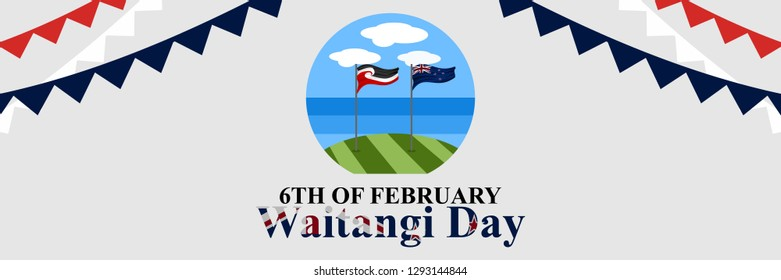 Happy Waitangi Day (New Zealand National Day) vector illustration. Suitable for greeting card, poster and banner.
