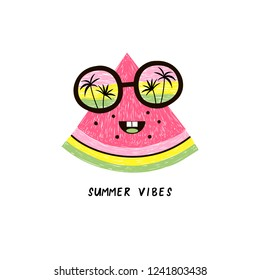 happy watermelon fruit character in sunglasses with seaside horizon reflexion, pencil drawing style illustration for kid poster and summer t-shirt design, isolated on white