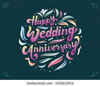 Happy wedding anniversary colorful Calligraphy, Lettering greeting banner design