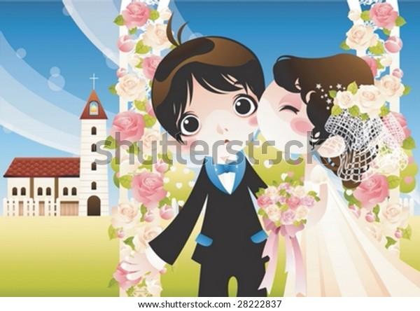 Happy Wedding Couple Beautiful Romantic Garden Stock Vector Royalty Free 28222837