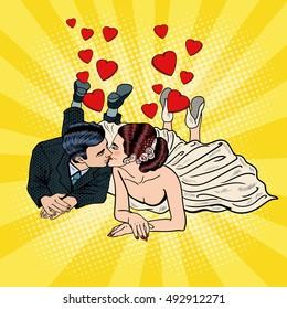 Happy Wedding Couple Kissing. Pop Art Bride and Groom. Vector illustration