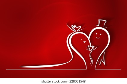 Happy Wedding Couple Line Drawing. Two abstract line characters in love, smiling, dressed up for wedding ceremony, creating a heart shape. Colorful red background.